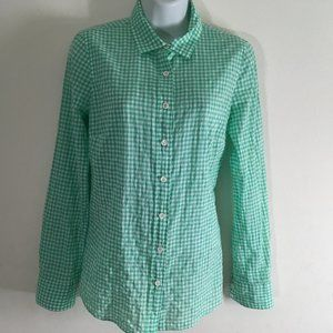J Crew Perfect White & Green Crinkled  Cotton Top